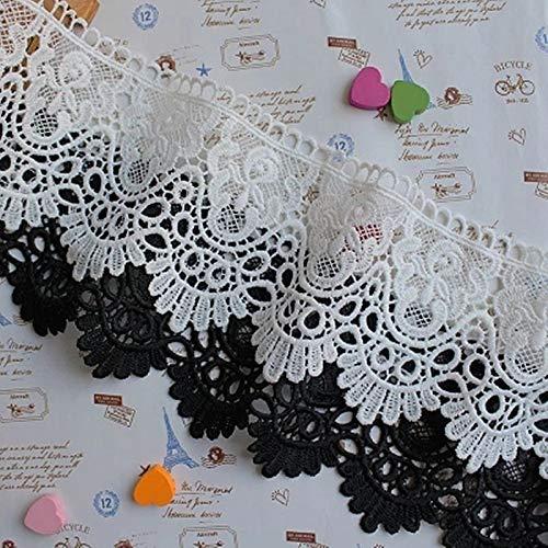 Yulakes 3 Yard 9cm Weiß Baumwolle spitzenband Vintage Häkelband Spitze Borte Häkelspitze Häkel-Borte Spitzenband für Nähen Handwerk Hochzeit Deko Scrapbooking Geschenkbox (Schwarz)