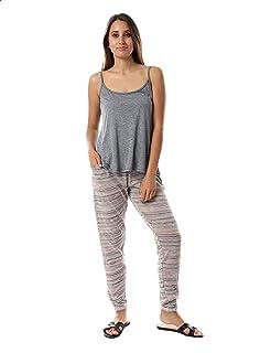 Kady Heathered Spaghetti Straps Top with Striped Side Pocket Pants Cotton Pajama Set for WoMen