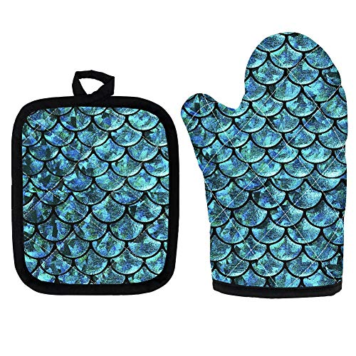 HUGS IDEA Süße Meerjungfrau-Ofenhandschuhe, türkisblau, hitzebeständig, zum Kochen, Backen, Grillen, mit hitzebeständigem Isolier-Untersetzer