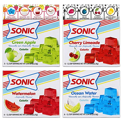 Sonic Gelatin Variety Pack | 1 Box Each Flavor - Green Apple, Cherry Limeade, Ocean Water and Watermelon Gelatin | Bundled with Ballard Jello Shot Recipe Card and Ballard Cold Treats Recipe Card