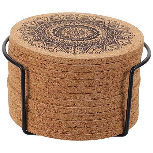 YARNOW Posavasos de Corcho Natural con Soporte de Hierro Mandala Patrón Posavasos de Mesa de Madera Taza Redonda Posavasos para La Oficina en Casa Restaurante
