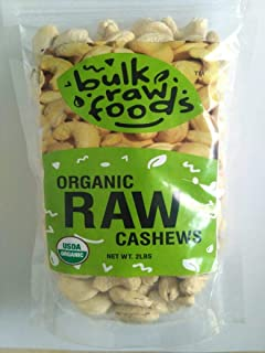 Premium Organic Raw Cashews 2lbs 100% Natural Large Whole by BulkRawFoods