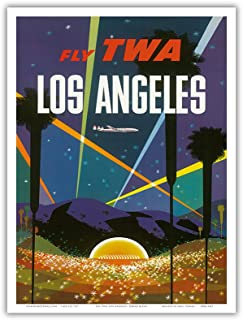 Los Angeles - Trans World Airlines Fly TWA - Hollywood Bowl - Vintage Airline Travel Poster by David Klein c.1958 - Master Art Print - 9in x 12in