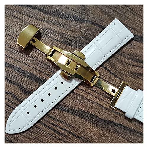 LIANYG Correa De Reloj Cintas de Reloj de Cuero 14mm 16mm 18 mm 19 mm 20 mm 21mm 22mm 24mm Reloj de Reloj Suave Lata de Correa 493 (Band Color : White Gold, Band Width : 20mm)