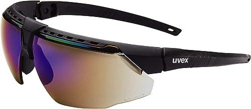 popular UVEX by Honeywell Avatar Safety Glasses, Black outlet online sale Frame with Blue Mirror Lens & online sale Anti-Scratch Hardcoat (S2853) online