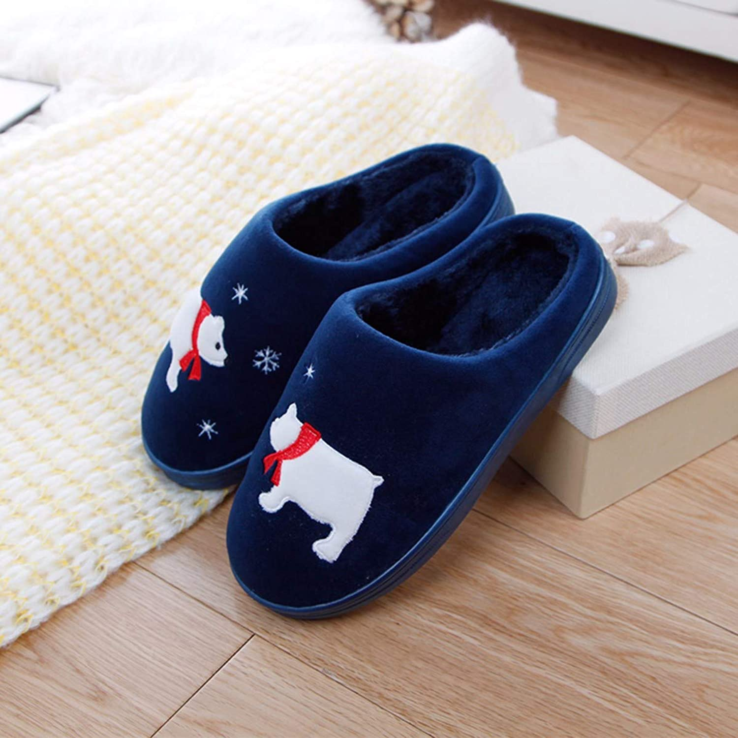 QPGGP-Slippers Winter Cotton Slippers and Indoor and Outdoor Couples with A Pair of Slippery, Warm and Thick Home.