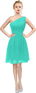 Womens Short One Shoulder Bridesmaid Dresses Prom Gown T195LF