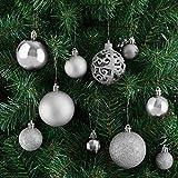 Deuba Weihnachtskugeln Silber 100 Christbaumschmuck Aufhänger Christbaumkugeln für den Weihnachtsbaum Weihnachtsbaumschmuck Weihnachtsbaumkugeln - 5