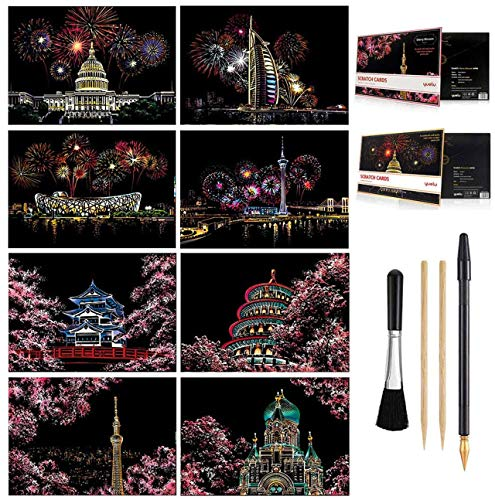 Scratch & Sketch Art Paper A4 for Kids & Adults, Rainbow Painting Night View Art&Craft, Engraving Art Set: 8 Sheets Scratch Cards & Scratch Drawing Pen, Clean Brush (Fireworks/Cherry Blossom)