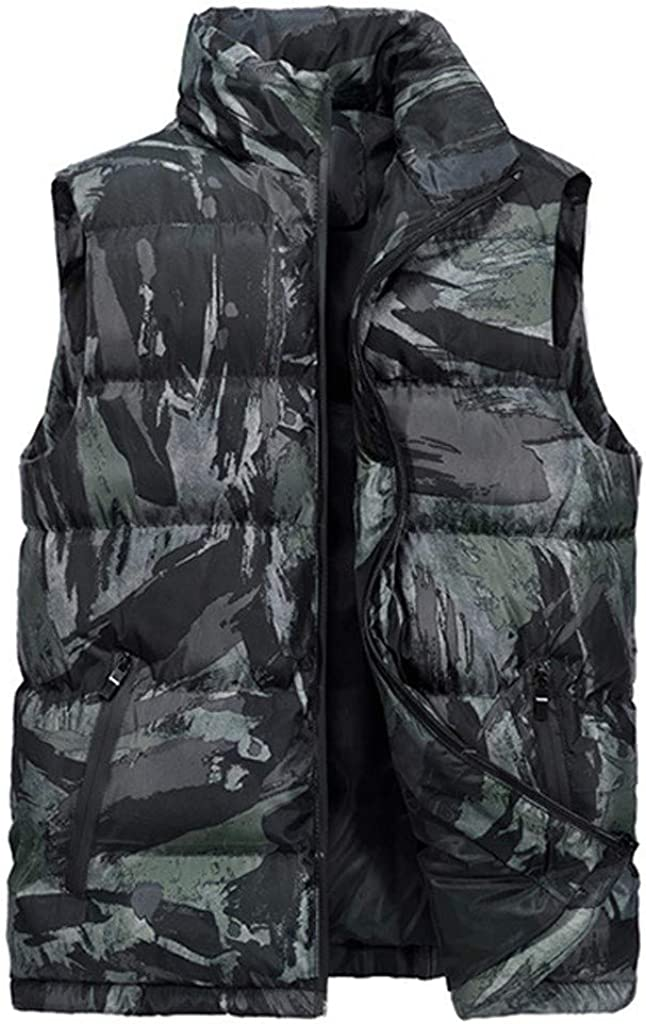 Men's Casual Warm Down Vest,Pocket Solid Color Waistcoat Top Coat