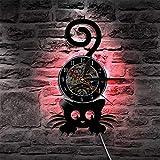 BFMBCHDJ Cat Vinyl Record Reloj de Pared Lámpara de Pared Moderna Gatito con Cola Divertida Decoración para el hogar Reloj de Pared Arte LED Lámpara Colgante