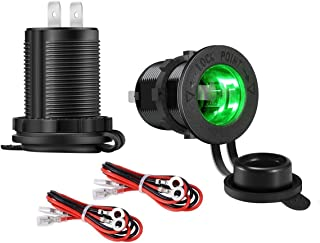 YONHAN Cigarette Lighter Socket 12V Power Outlet Receptacle with Green LED for Car Marine Motorcycle Scooter RV and More, 2-Pack