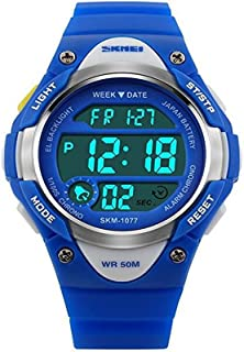 Kids Watch Children's Outdoor Sport Waterproof Alarm Wrist Watch Digital LED Stopwatch for Boy Girls-Blue