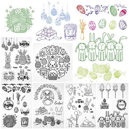 Kesote Stempel Clear Stamp Ostern 6 Bogen Transparent Silikon DIY Scrapbooking Fotoalbum