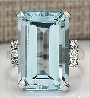 Sumanee Vintage Women 925 Silver Aquamarine Gemstone Ring Wedding Jewelry Size (8),