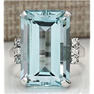 SOSUO Vintage Women 925 Silver Aquamarine Gemstone Ring Wedding Jewelry Size (8),