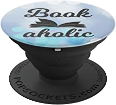 Bookaholic, Bookworm Gift Book Nerd, Bookish, Blue Bokeh - PopSockets Grip and Stand for Phones and Tablets