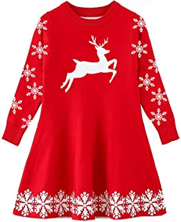 Little Girls Christmas Dress Xmas Gifts Knitted Sweater Dresses 2-9T