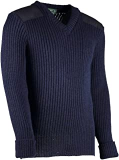 York Woolly Pully Vee Neck Sweater with Patches