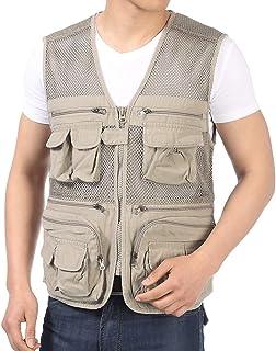 Men's vest Summer Thin Section Cotton vest Outdoor vest Fashion vest Multi-Pocket vest (Color : Beige, Size : L)