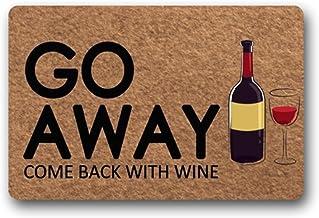 Eureya Custom Doormat Go Away Come Back with Wine Funny Door Mat Welcome Mat Living Room Decor 40x60cm