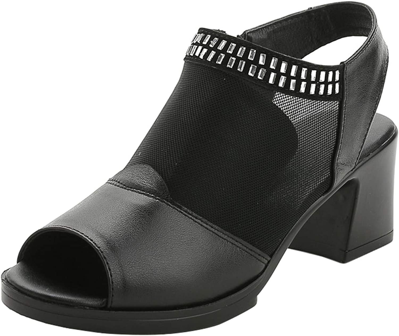 Mashiaoyi Women's Peep-Toe Hollow Block-Heel Zip Gladiator Sandals