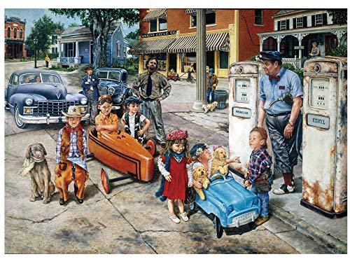 1000 stukjes puzzel Kinderen en auto's, houten creatief puzzelspeelgoed 75x50cm