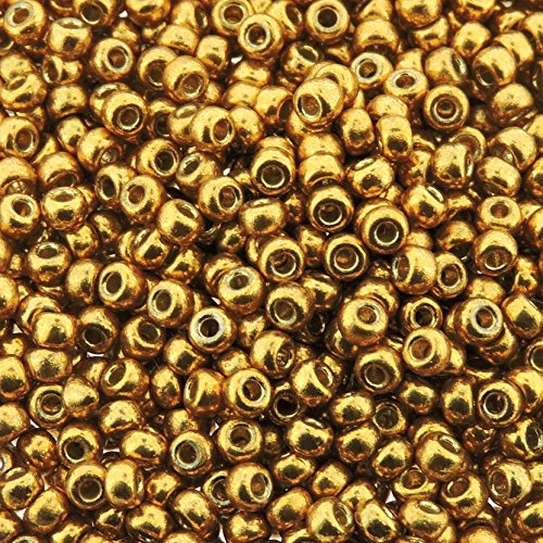 Gold 22 Grams Miyuki Round Rocailles 8/0 Seed Bead Duracoat Galvanized Approx 22 Gram Tube by Miyuki 8/0