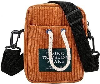 Unisex Small Shoulder Messenger Bags Corduroy Satchel Bags (Light Brown)