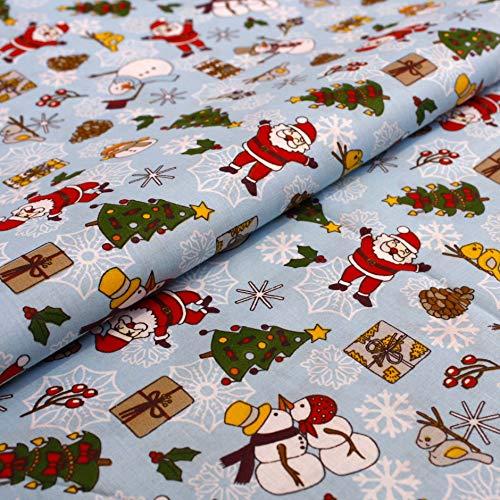 Hans-Textil-Shop Stoff Meterware Weihnachtsmann Christbaum Schneemann Geschenke Baumwolle - Für Weihnachten, Deko, Tischdecke, Kinder, Nähen, Basteln (Hellblau)