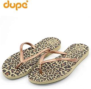 Dupe Beige Printed Flip Flop Thong Design Slipper for Women