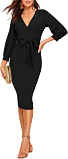 Women's Plunging V Neck Bishop Sleeve Bodycon Belted Dress