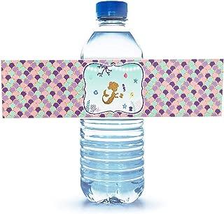 Mermaid Bottle Wraps-Happy Birthday Water Bottle Label Rainbow Mermaid Themed Party Favors, Set of 24 Waterproof Stickers