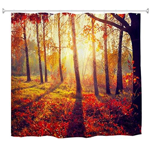 goodbath Duschvorhang, Herbst/Sonnenschein, Wald, wasserdicht & schimmelresistent, 183 x 183 cm, Gold Rot Braun