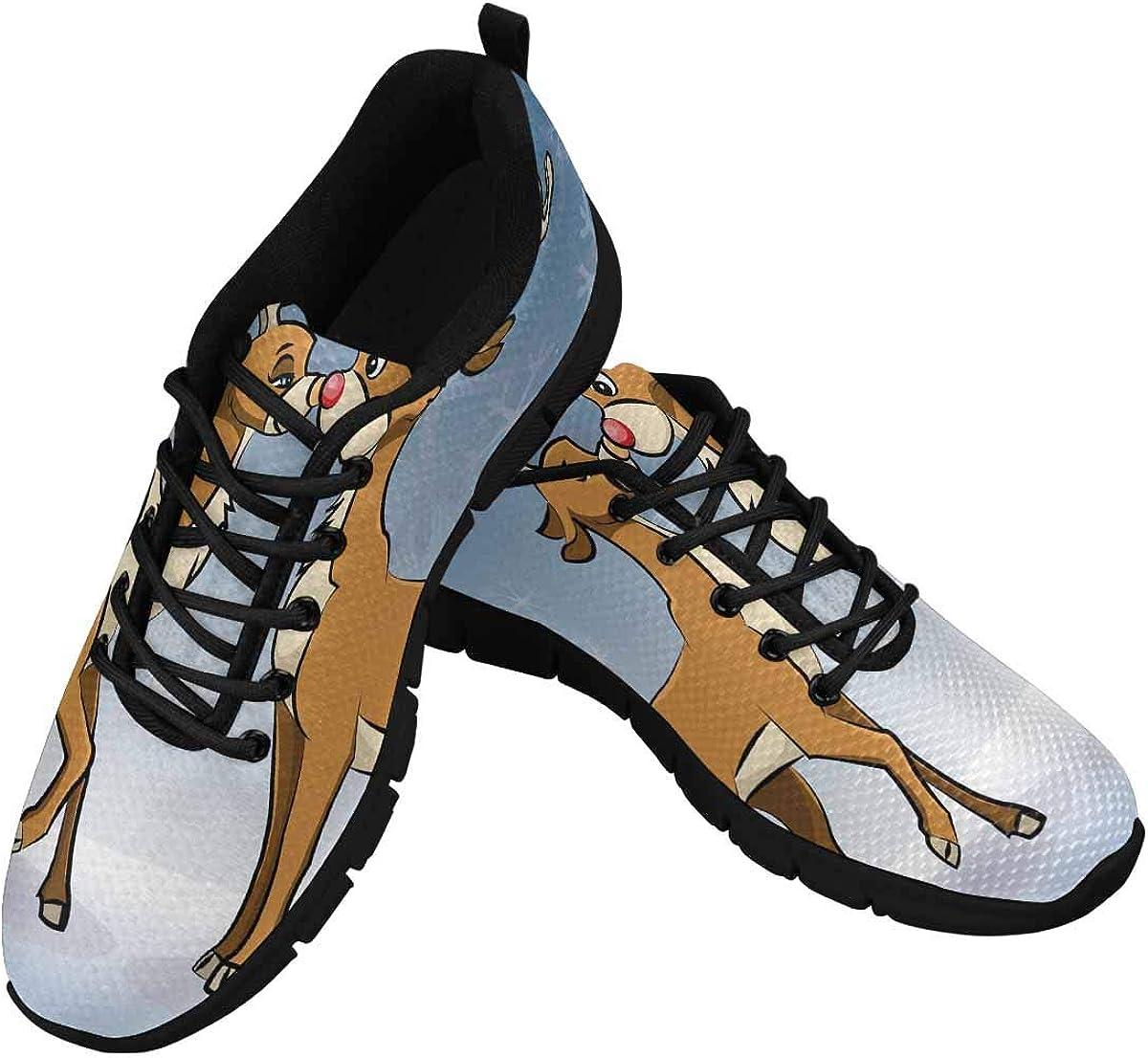 INTERESTPRINT Loving Reindeers Women's Athletic Mesh Breathable Casual Sneaker