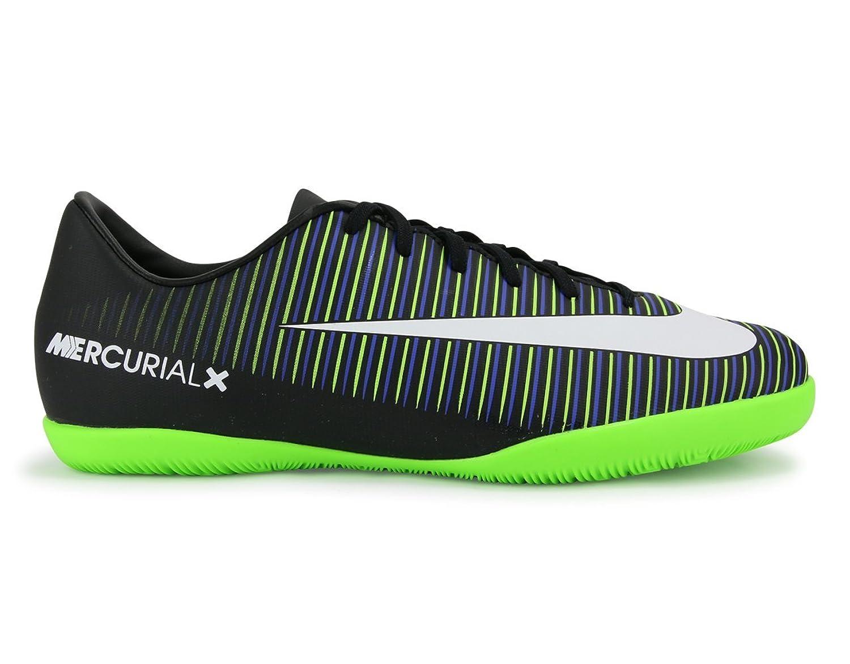 [ナイキ] Kids Mercurialx Vapor VIインドアサッカーシューズ靴ブラック/ホワイト/エレクトリックグリーン