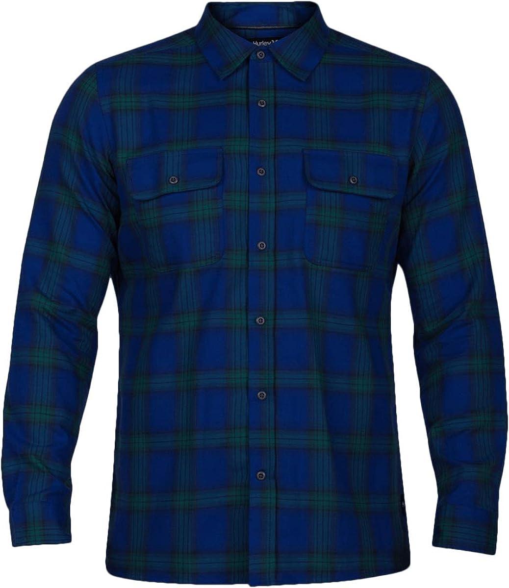 Cheap SALE Start Hurley Men's overseas Nike Dri Fit Syd Plaid Shirt Woven Long Sleeve