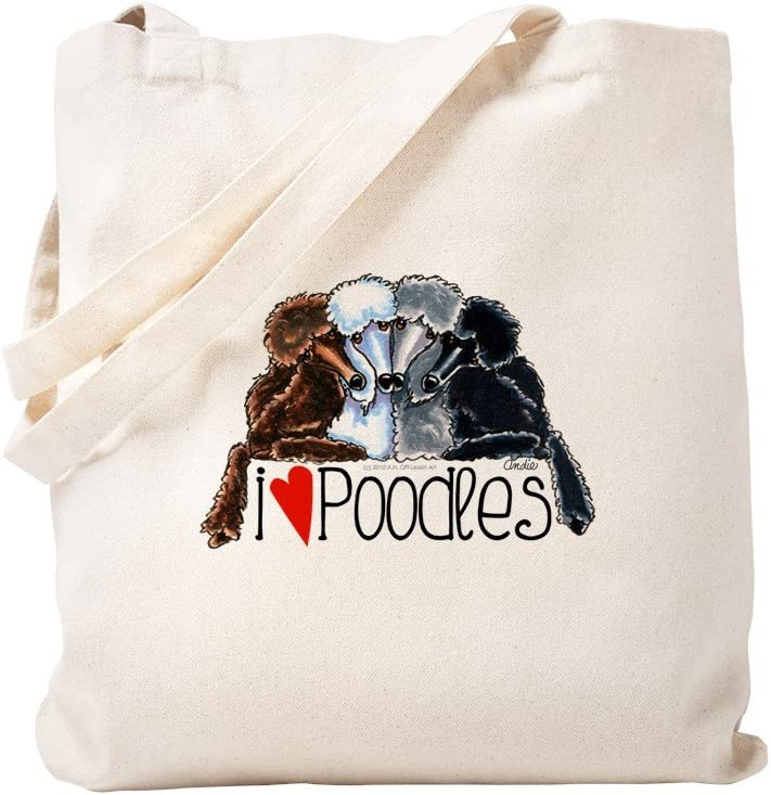 CafePress Love Poodles Tote Bag Natural Canvas Tote Bag, Reusable Shopping Bag