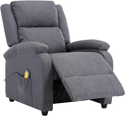 vidaXL Fernsehsessel mit Fu/ßhocker Relaxsessel TV Sessel Ruhesessel Liegesessel Polstersessel Liegestuhl Relaxliege Braun Kunstleder