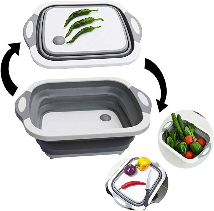 Multifunction Collapsible Cutting Board Dish Tub Kitchen Cutting Boards Drain Basket Vegetable Basin For Kitchen Storage Cutting Board Outdoor Camping Grey