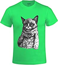 Overbearing Tard The Grumpy Cat DIY gentleman Round Collar T Shirts Green