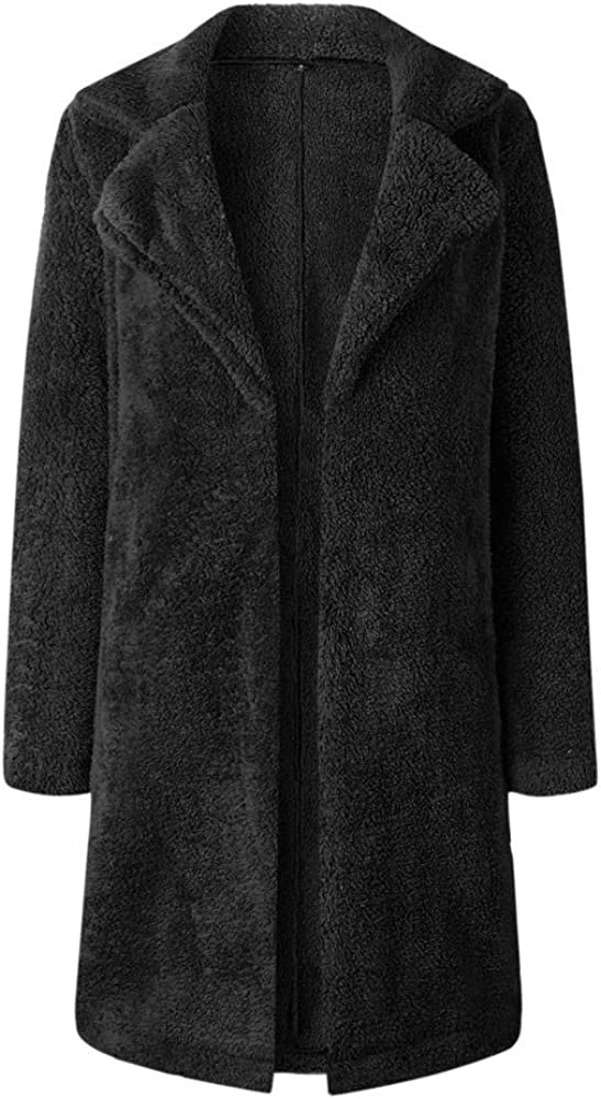 VEMOW Damen Lang Mantel Winter Warmen Outwear Pulli Jacke Cardigan Lange Ärmel Einfarbig Parka Strickjacken Blazer Lang Schwarz