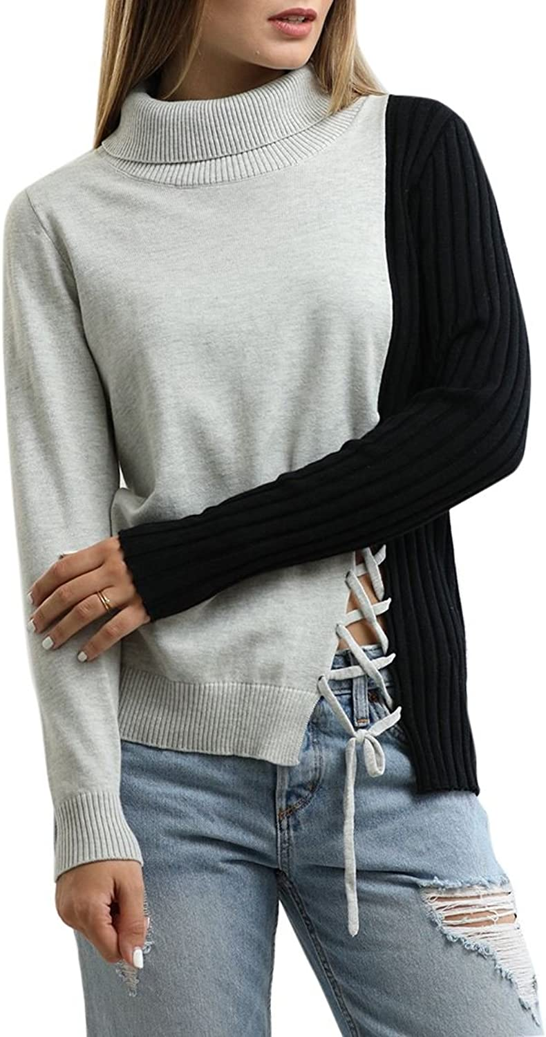 Central Park West  Turtleneck Sweater with Lacing Detail  Black Grey