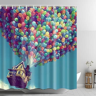 ABxinyoule Balloon Flying House Shower Curtain Bathroom Decor Waterproof Mildew Fabric.