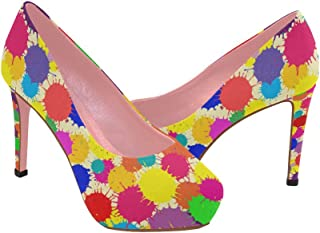 Zenzzle Womens high Heel Wedge Pumps Shoes Colorful Graffiti Feather Flowers Strawberry Dreamcatcher Pattern prin on Size 5-11