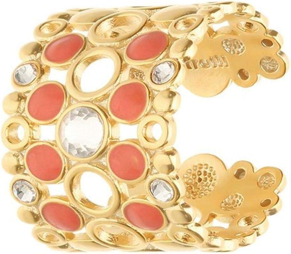Stroili oro anello per donna regolabile fascia larga in ottone rosato cristalli e smalto arancione 1669119