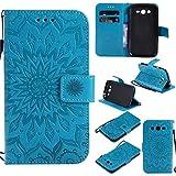 kelman Cáscara para Samsung Galaxy Grand Neo Plus/GT-i9060 / GT-i9082 (5.0') Funda Cáscara 3D Girasol Moda PU Cuero+Suave Silicona TPU Billetera Tapa del tirón Cáscara - [Azul]