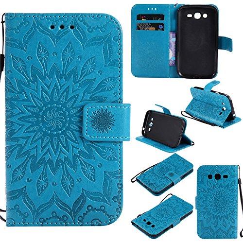 """Kelman Custodia per Samsung Galaxy Grand Neo Plus/GT-i9060 / GT-i9082 (5.0"""") Cover Custodia Case - 3D Fiore Sole Moda PU Pelle Slot per Scheda, Portafoglio, Flip Custodia - [Blu]"""