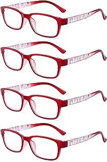 Aiweijia Reading Glasses Unisex Comfortable 4 Pack Retro Spring Hinge Glasses