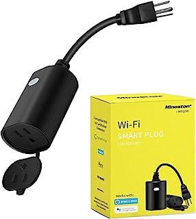 پلاگین هوشمند WiFi در فضای باز و پلاگین داخلی تایمر کنترل از راه دور خروجی وظیفه سنگین ضد آب سازگار با Alexa Google Assistant بدون توپی لازم است ، سیاه (MP22W)